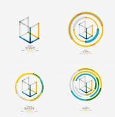 Minimal line design logo, business icon, block — Wektor stockowy