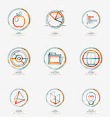 Minimal thin line design web icon set, stamps — Stock Vector