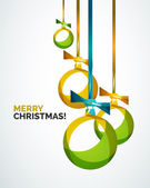 Merry Christmas modern card - abstract baubles — Stockvektor