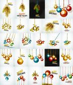 Set of Christmas baubles, New Year Concepts — Stockvektor