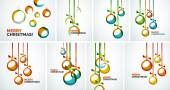Merry Christmas modern cards - abstract baubles — 图库矢量图片