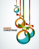Merry Christmas modern card - abstract baubles — Stock Vector