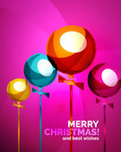 Glossy Christmas baubles, greeting card template — Wektor stockowy