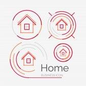 Thin line neat design logo set, home idea — Stock Vector