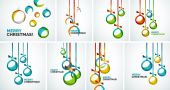 Merry Christmas modern cards - abstract baubles — Stockvektor
