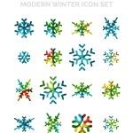 Conjunto de iconos de Navidad copo de nieve — Vector de stock  #60280555