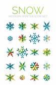 Set of Christmas snowflake icons — Stock Vector