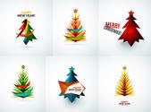 Set of Christmas tree geometric designs — Vector de stock