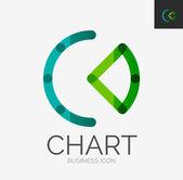 Minimal line design logo, chart, graph icon — Stock Vector