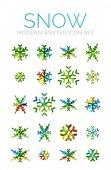 Set of Christmas snowflake icons — Stok Vektör