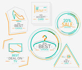 Minimal line design shopping stamps — Stock Vector