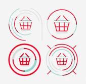 Thin line neat design logo set, shopping cart icon — Stock Vector