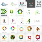 Set of universal company logos and design elements — Stock Vector