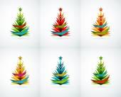 Set of Christmas tree geometric designs — Stock Vector