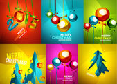 Glossy Christmas cards set — Stock Vector