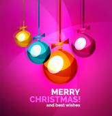 Glossy Christmas baubles, greeting card template — Stock Vector