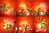 Set of colorful shiny Chrismas cards — 图库矢量图片