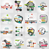 Hand-drawn vector symbols with infographic elements — Stock Vector