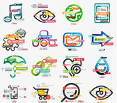 Vector mega collection of line and sticker infographics — Stock Vector