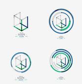 Minimal line design logo, business icon, block — Stock Vector