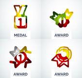 Colorful award business logo set — Stock Vector