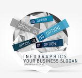 Modern polygonal origami paper infographics — Stock Vector
