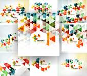 Set of geometric abstract polygonal backgrounds — Stock Vector
