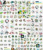 Mega collection of abstract shapes infographics — Stock Vector