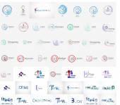 Vector universal mega set of company logos — Stock Vector