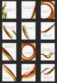 Orange and green wave line design, nature eco concept — Vector de stock