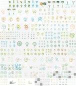 Vector mega set of linear stamp logos — Stock Vector