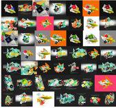 Бумага графические баннеры набор, мега коллекция — Cтоковый вектор