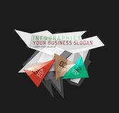 Infografía de papel origami poligonal moderno — Vector de stock