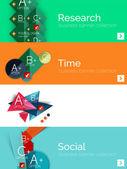 Set di banner design piatto infografica con schema geometrico — Vettoriale Stock