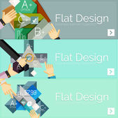 Flat design vector infographic banners with geometric infographics — Stock Vector
