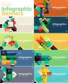 Set of infographic flat design banner with hands — Vecteur