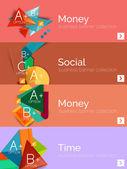 Sada infographic plochý design bannerů s geometrickými diagramu — Stock vektor