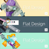 Flat design vector infographic banners with geometric infographics — 图库矢量图片