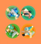 Set of flat design circle infographic icons — Stock Vector
