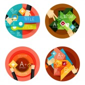 Set of option presentation labels, flat design web infographic boxes — Vettoriale Stock