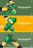 Set of infographic flat design banner with hands — Stock Vector