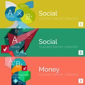 Banners de infográfico de vector design plano com infográficos geométricos — Vetor de Stock