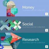 Flat modern info banner set — Vector de stock