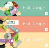 Flat design vector infographic banners with geometric infographics — Vector de stock