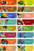 Mega collection of flat design infographic banners — Stock Vector