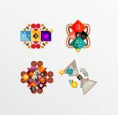 Set of abstract geometric shapes with options — Stockvektor