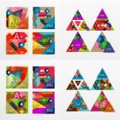 Flat design geometric info banners, web boxes — Vector de stock