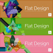 Flat design vector infographic banners with geometric infographics — Stock Vector #70286221