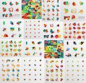 Super mega set of abstract geometric paper graphic layouts — Vector de stock