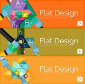 Flat design vector infographic banners with geometric infographics — Stockvector